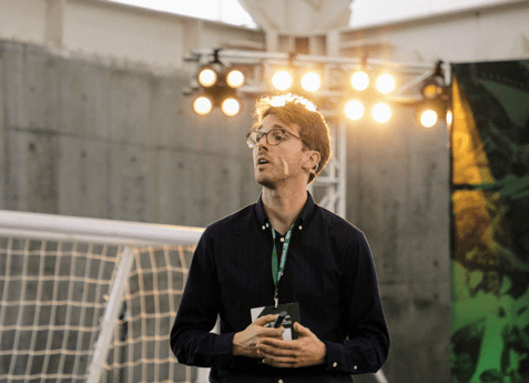 Dr. Arne Jaspers speaking at the Football Congress 2019 in Medellin - Colombia