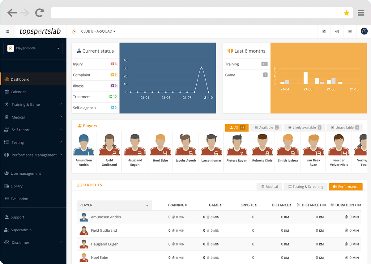 Athlete Management System showing general coach dashboard