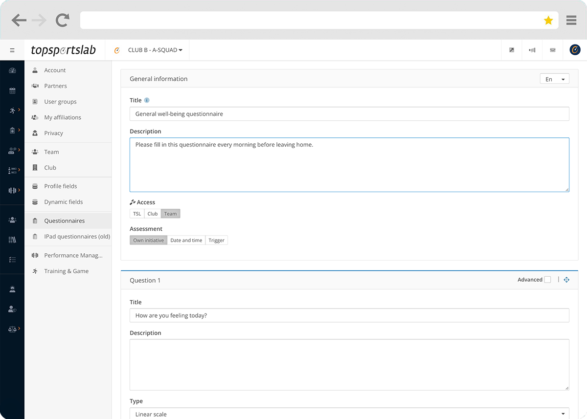 Creating custom sel-report or well-being questionnaires in the Topsportslab platform