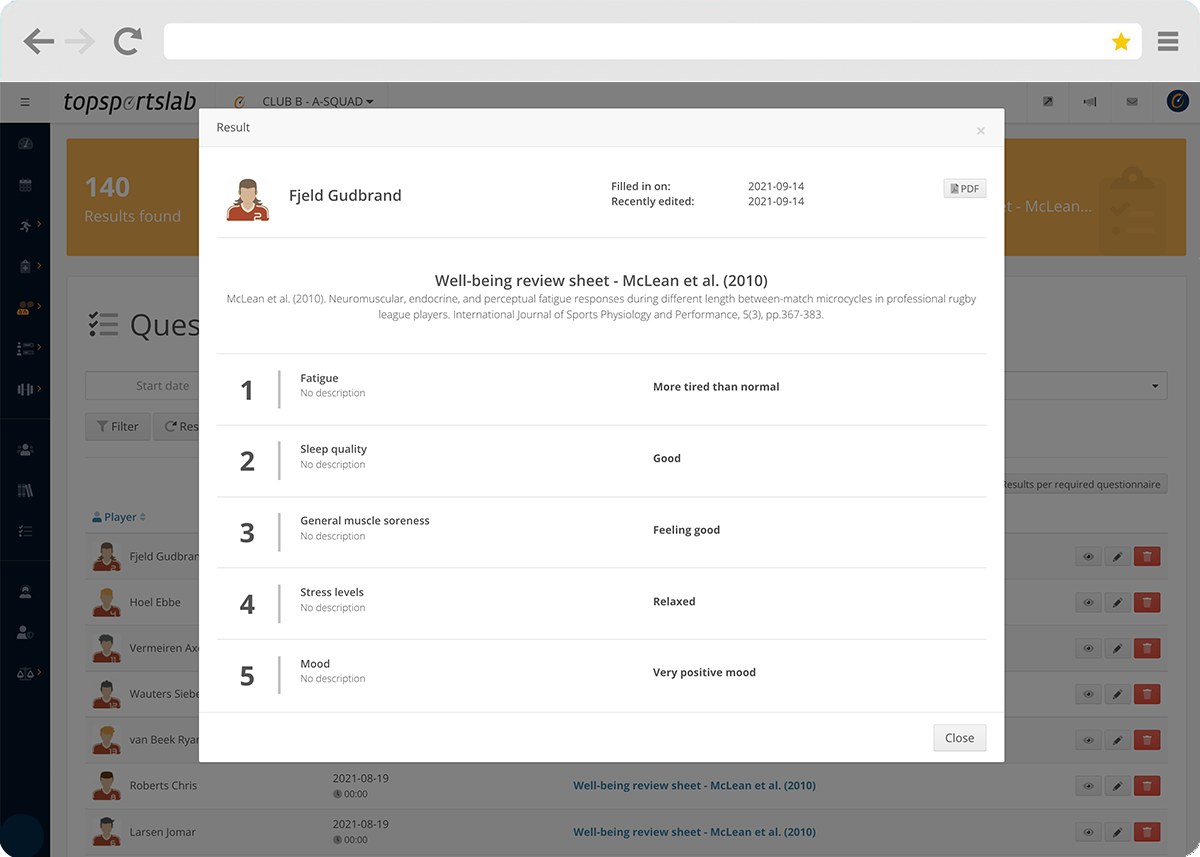 Viewing athlete results for custom well-being questionnaires in the Topsportslab platform